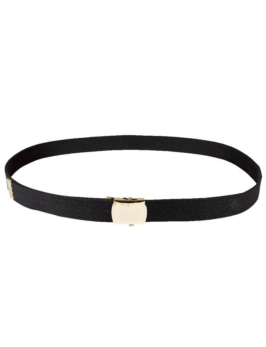 "54"" WEB BELT WITH GOLD CLOSED FACE BUCKLE"