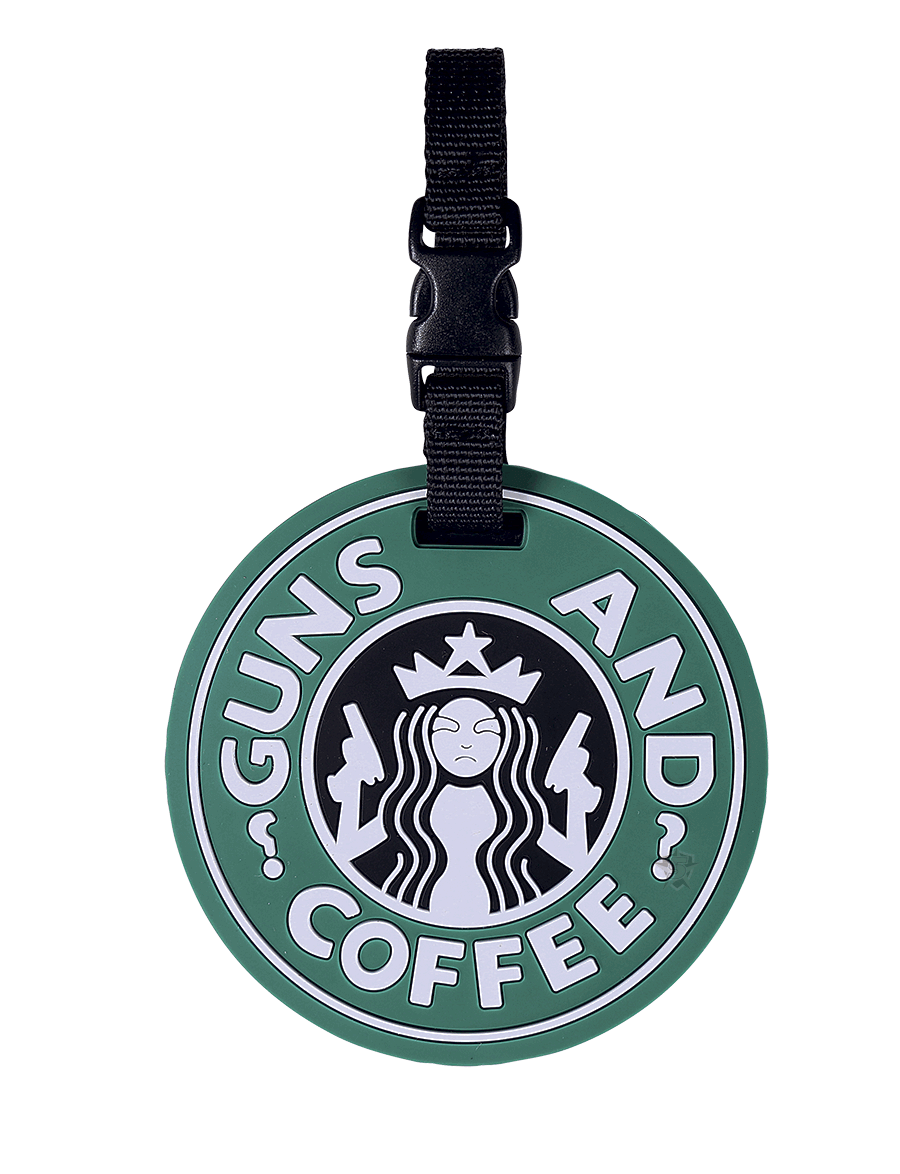 GUNS AND COFFEE LUGGAGE TAG