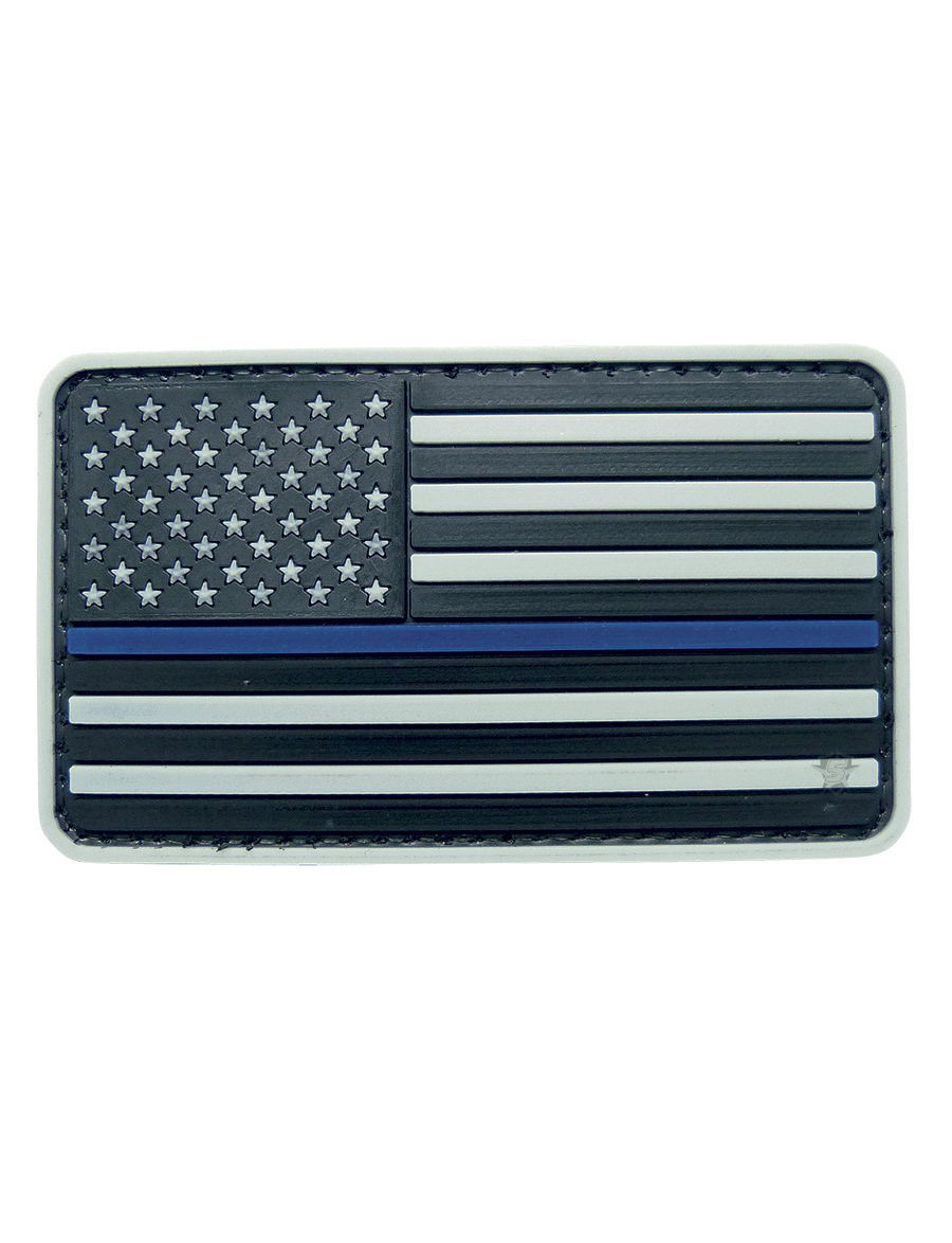 U.S. FLAG GREY W/BLUE STRIPE MORALE PATCH