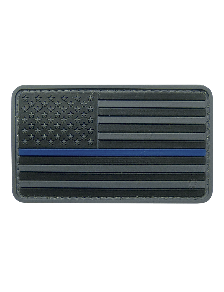U.S. FLAG BLACK W/BLUE STRIPE MORALE PATCH