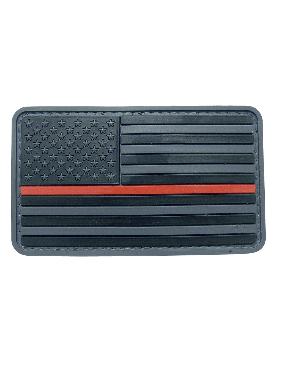 U.S. FLAG BLACK W/RED STRIPE MORALE PATCH